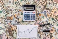 gráficos de negocio con la calculadora y el dólar Visión superior Foto de archivo