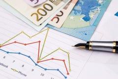 Gráficos de negocio con las notas euro Fotografía de archivo