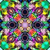 Gráficos de ordenador Ejemplo de un fondo floral abstracto, ornamento simétrico psicodélico Mosaico oriental tradicional FO ilustración del vector