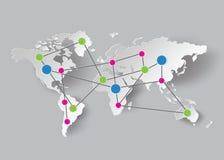 Gráficos de papel del mapa del mundo Fotografía de archivo