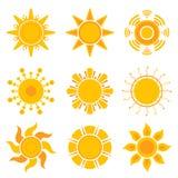 Gráficos de Sun Coleção amarela do vetor dos símbolos da luz do sol do tempo do verão ilustração do vetor
