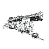 Gráficos de vector del pirata del cañón Imágenes de archivo libres de regalías