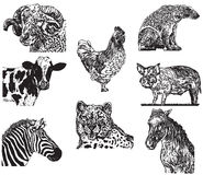 Gráficos de vector determinados del animal Fotos de archivo libres de regalías