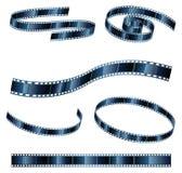 Gráficos de vetor do carretel de filme em várias formas Imagens de Stock Royalty Free