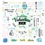 Gráficos de vetor do dia de Valentim dos cosméticos da beleza Fotos de Stock Royalty Free