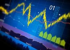 Gráficos del mercado de acción Imagen de archivo libre de regalías