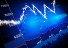 Gráficos del mercado de acción Fotos de archivo