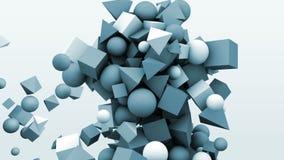 gráficos del movimiento 3d, cubos geométricos dinámicos de la forma, conos, esferas y otra abstraiga el fondo metrajes
