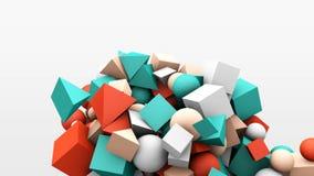 gráficos del movimiento 3d, cubos geométricos dinámicos de la forma, conos, esferas y otra abstraiga el fondo almacen de metraje de vídeo