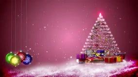 Gráficos del movimiento de copos de nieve y de decoraciones de la Navidad ilustración del vector