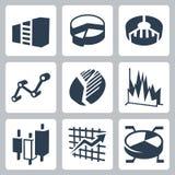 Gráficos del vector e iconos de las cartas fijados Fotos de archivo libres de regalías