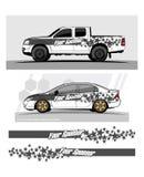 Gráficos do caminhão Veículos que competem o fundo das listras Imagem de Stock Royalty Free
