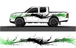 Gráficos do caminhão Veículos que competem o fundo das listras ilustração stock