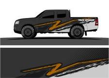 Gráficos do caminhão Veículos que competem o fundo das listras ilustração do vetor
