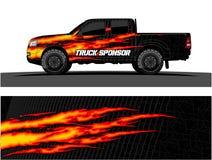 Gráficos do caminhão Veículos que competem o fundo do vetor das listras ilustração royalty free
