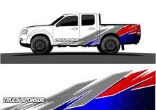 Gráficos do caminhão Veículos que competem o vectorbackground das listras ilustração do vetor