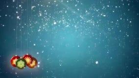 Gráficos do laço do movimento dos flocos de neve e das decorações do Natal video estoque