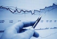 Gráficos do mercado de valores de acção. Imagens de Stock