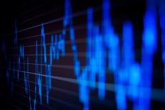 Gráficos do mercado de valores de acção no monitor do computador. Fotografia de Stock Royalty Free