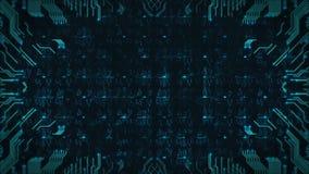 Gráficos do movimento da placa de circuito da olá!-tecnologia Animação dando laços do mundo do cyber Fundo sem emenda do sumário  vídeos de arquivo