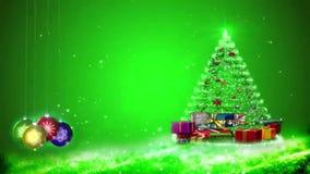 Gráficos do movimento dos flocos de neve e das decorações do Natal Fundo verde filme