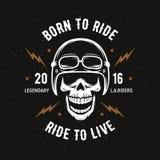 Gráficos do t-shirt da motocicleta do vintage Carregado montar Passeio a viver Ilustração do vetor Imagem de Stock