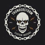 Gráficos do t-shirt da motocicleta do vintage thunderstorm Motores feitos sob encomenda Ilustração do vetor Foto de Stock Royalty Free