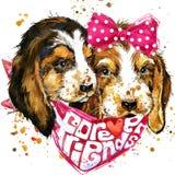 Gráficos do t-shirt do companheiro do cão ilustração stock