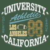 Gráficos do t-shirt do futebol, Califórnia, sportswear ilustração do vetor