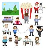 Gráficos dos desenhos animados do negócio, do feriado e da profissão ilustração do vetor