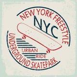 Gráficos dos esportes da tipografia do patim de New York ilustração stock