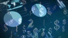 Gráficos e estatísticas para dólares ilustração royalty free