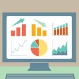 Gráficos em um tela de computador ilustração stock