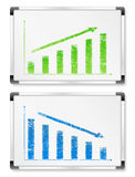 Gráficos en whiteboards Fotos de archivo