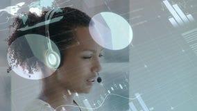 Gráficos, estadísticas y agente del centro de llamada stock de ilustración