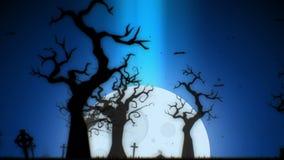 Gráficos fantasmagóricos del movimiento del fondo de la animación de Halloween con el árbol, la luna, los palos, la mano y el cem stock de ilustración
