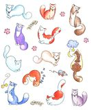 Gráficos felices de los gatitos fijados Fotografía de archivo libre de regalías