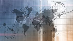 Gráficos financeiros da carta do investimento de troca dos estrangeiros Conceito do negócio e da tecnologia  de Ñ foto de stock