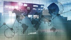 Gráficos financeiros da carta do investimento de troca dos estrangeiros Conceito do negócio e da tecnologia foto de stock