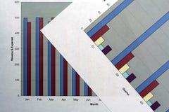 Gráficos financieros Imagen de archivo libre de regalías