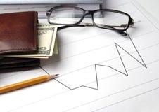 Gráficos financieros fotos de archivo