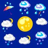 Gráficos hermosos y simples de la previsión metereológica en la precipitación Imagen de archivo libre de regalías