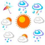 Gráficos hermosos y simples de la previsión metereológica en la precipitación Foto de archivo libre de regalías
