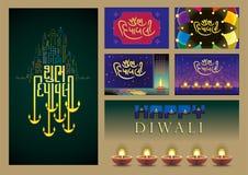 Gráficos, iconos y fondos para el diwali imagenes de archivo