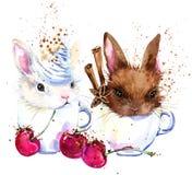 Gráficos lindos de la camiseta del conejito y del café ejemplo del conejito con el fondo texturizado acuarela del chapoteo stock de ilustración