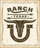 Gráficos occidentales de la etiqueta del rancho del vintage ilustración del vector