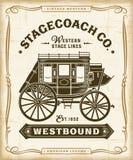 Gráficos occidentales de la etiqueta de la diligencia del vintage stock de ilustración