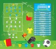 Gráficos para el juego de fútbol del fútbol, iconos, elementos del juego, marcador de la información Fotografía de archivo libre de regalías