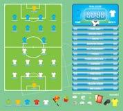 Gráficos para el juego de fútbol del fútbol, iconos, elementos del juego, marcador de la información Imagenes de archivo
