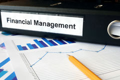 Gráficos y carpeta de archivos con la gestión financiera de la etiqueta Foto de archivo libre de regalías